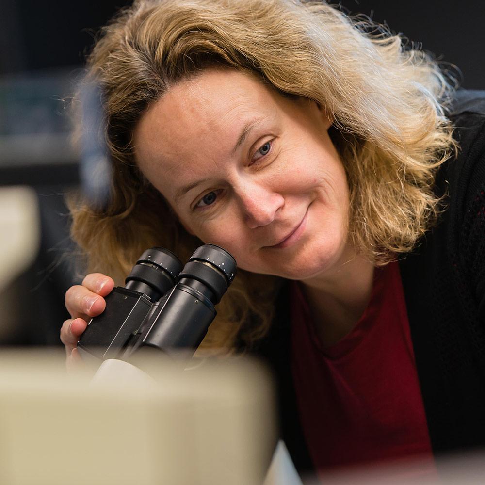 Christina Haston looking into microscope